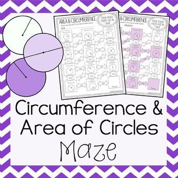 Area And Circumference Of Circles Maze Worksheet Mathematics