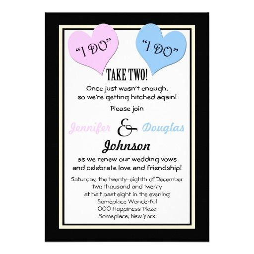 Vow Renewal I Do I Do Take Two Card Vow renewal invitations Funny