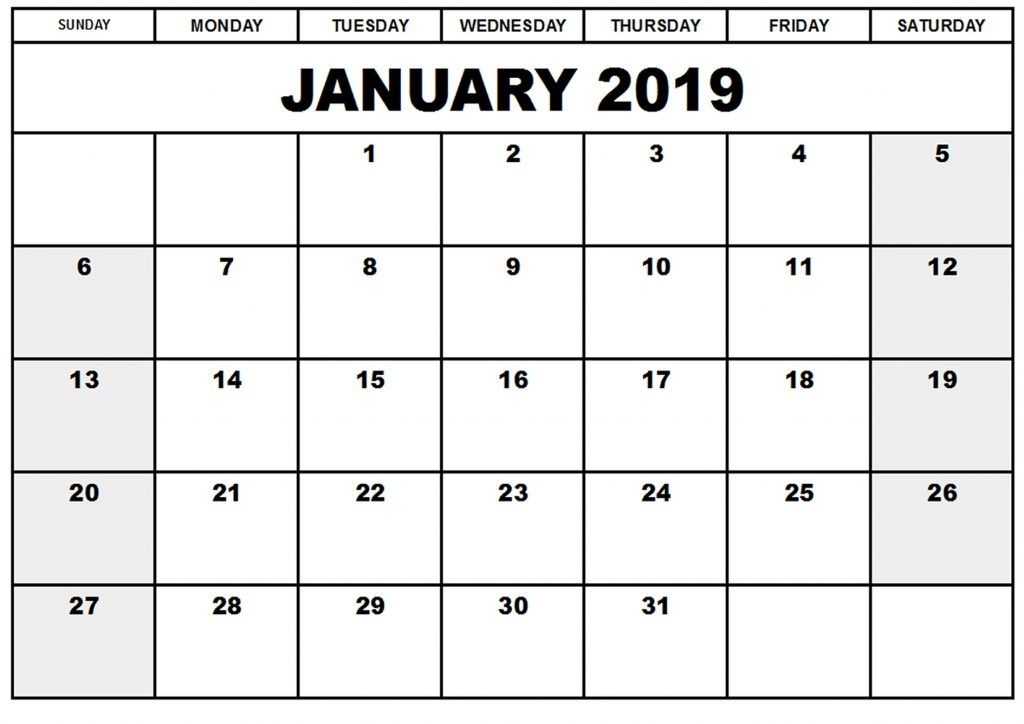 2019 January Countdown Calendar Printable