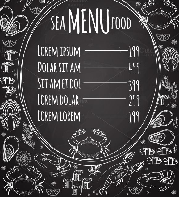 Seafood Chalkboard Menu Template By Microvector On Creative Market