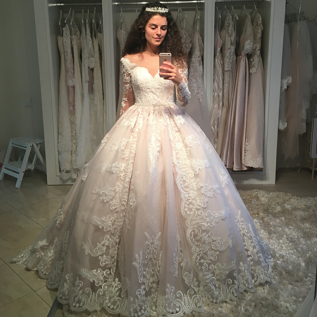 Ivory Lace Bodice Ball Gown Wedding Dress With Sheer Long: Romantic Lace Long Sleeves Wedding Ball Gown Dresses