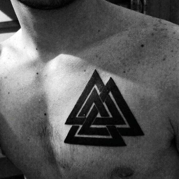 Chest Tattoos For Men Designs Ideas And Meaning: 50 Valknut Tattoo Designs For Men