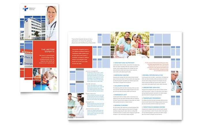 Hospital Flyer Template Nursing School Hospital Tri Fold Brochure