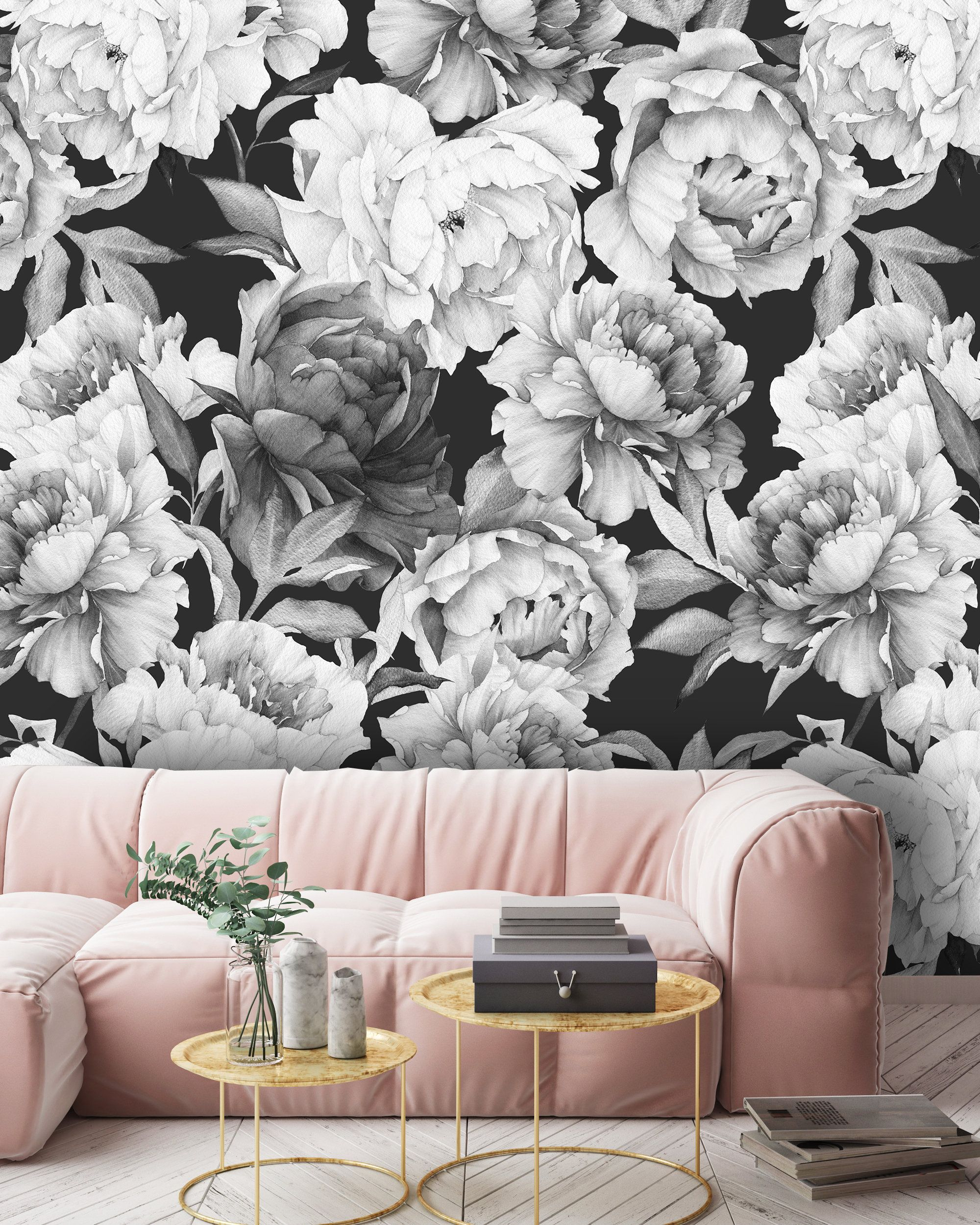 Removable Peel N Stick Wallpaper Self Adhesive Wall Etsy Peel N Stick Wallpaper Black And White Flowers Watercolor Floral Pattern