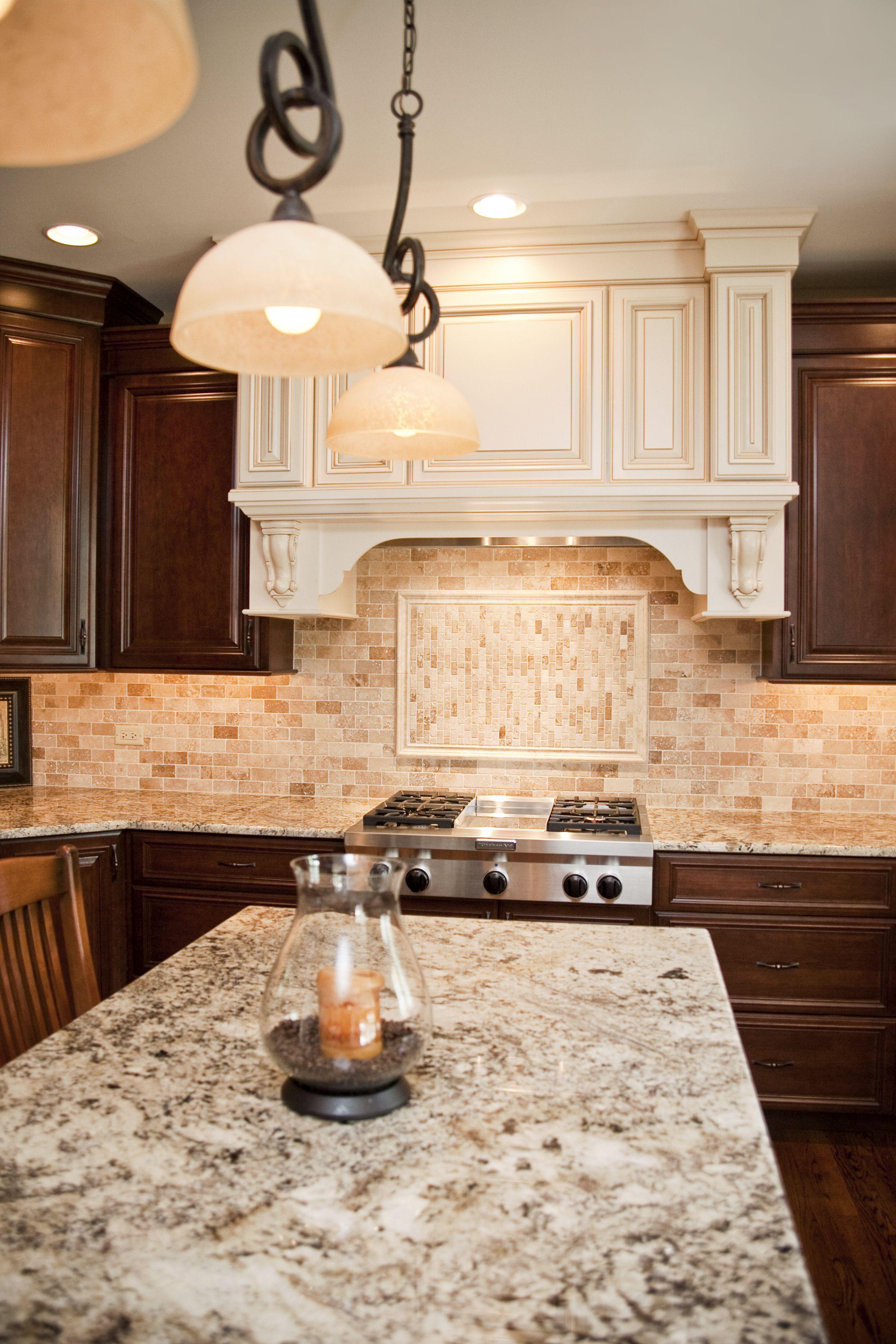 Aurora IL kitchen remodel Travertine stone backsplash and