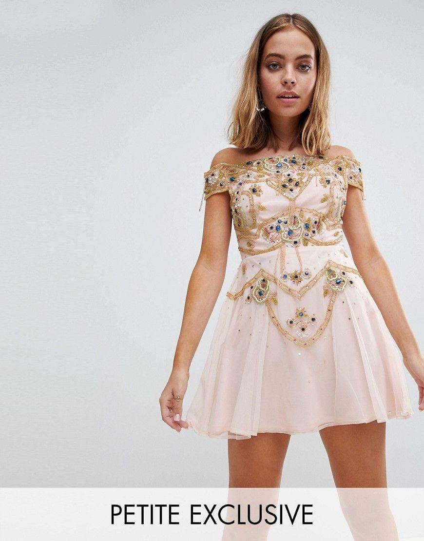 Frock And Frill Petite Premium Embellished Bardot Bodice Mini Skater Dress 4f1a22cd8