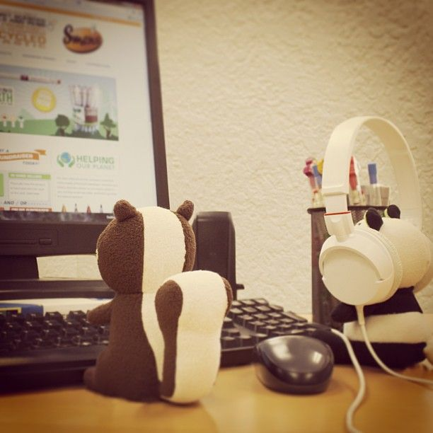 Mint Chocolate Chipmunk offered to help Panda Pear fix the computer but Panda got distracted by Chips awesome headphones.