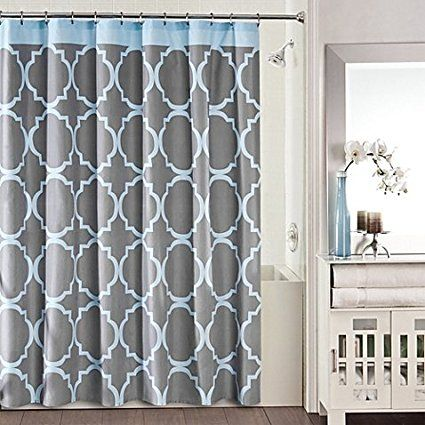 Studio 3b Jay Fret Shower Curtain In Grey Blue Gray Shower Curtains Blue Shower Curtains Bathroom Shower Curtains