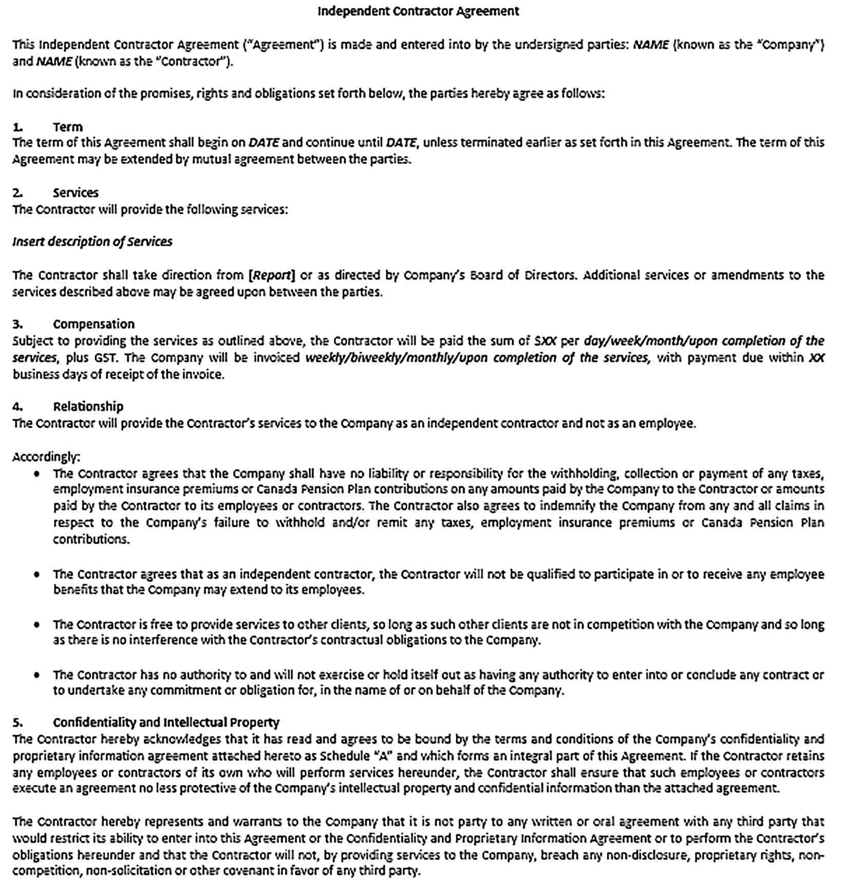 Contractor Confidentiality Agreement Sample Template Business Template Contractors Agreement