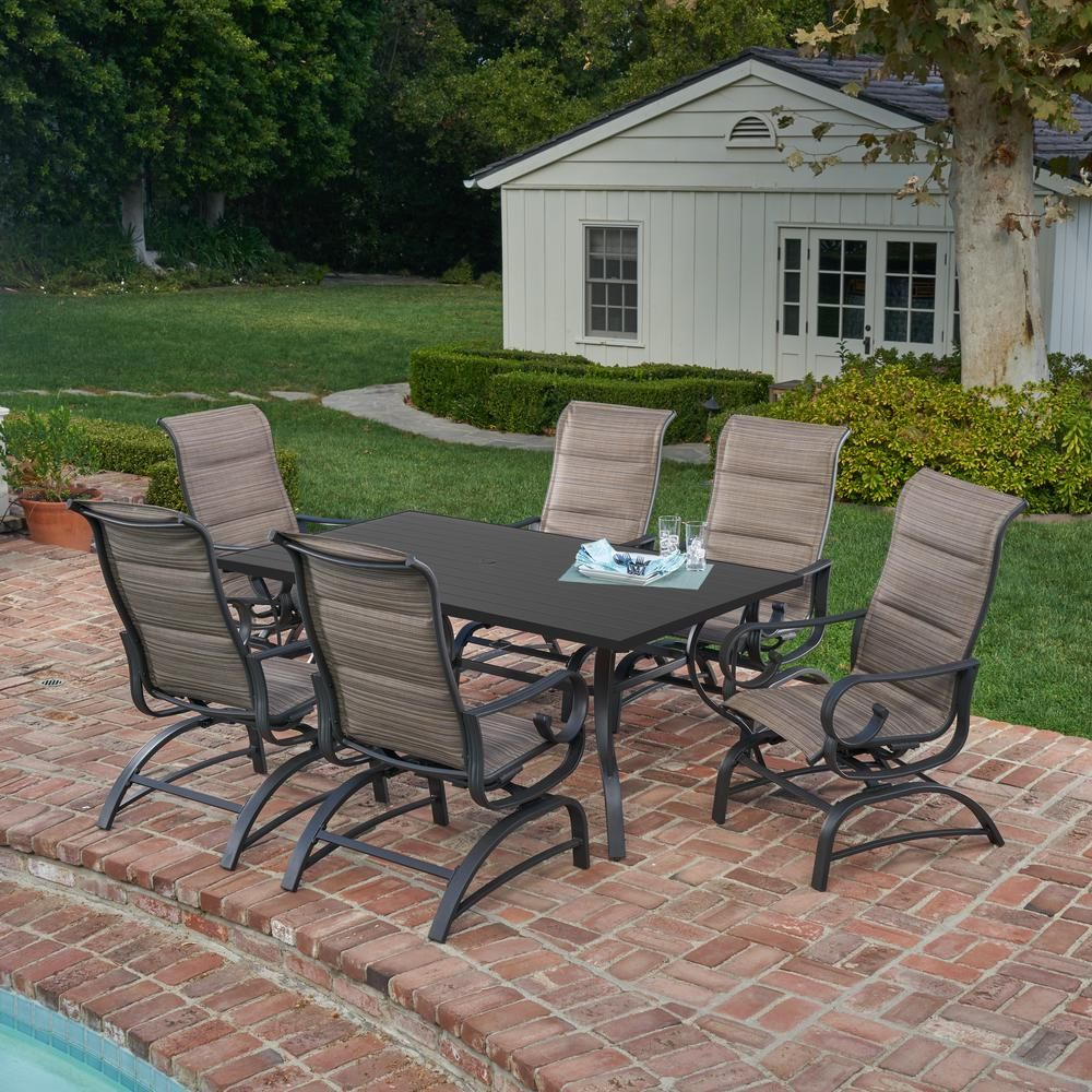 Royal Garden River Oak 7 Piece Metal Outdoor Dining Set With