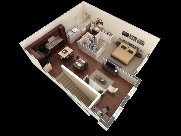 1 Bedroom Apartment House Plans Design De Casas Pequenas