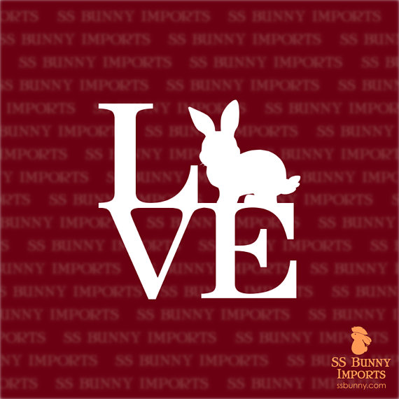 Bunny love sticker; rabbit laptop decal / car decal, glossy white
