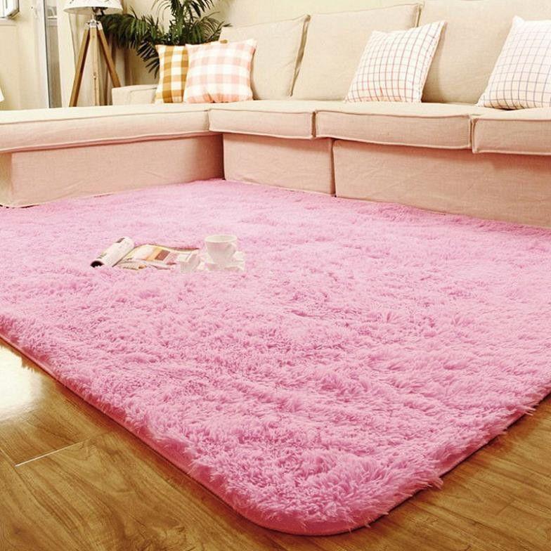 Fashion Living Dining Bedroom Car Flokati Shaggy Ivory Wool Rug Anti ...