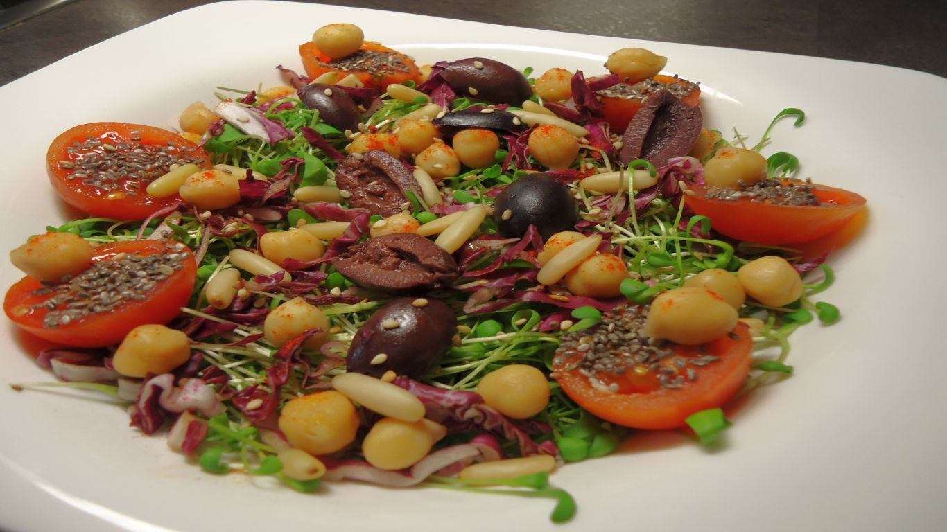 Colorful Raw Garden Cress & Radicchio Salad - For this quite tangy ...