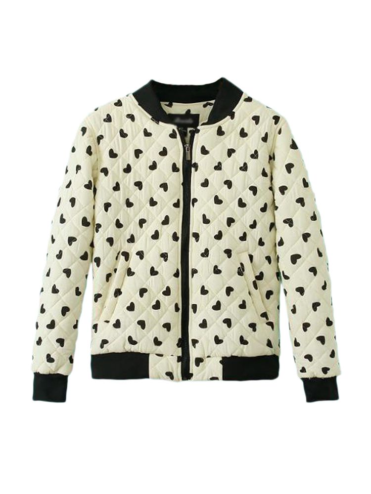 Heart Pattern Stand Neck Zipper Warm Jacket