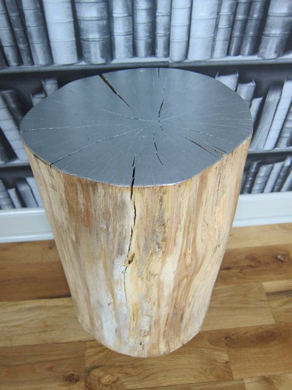 Genial Silver Tree Stump Side Table