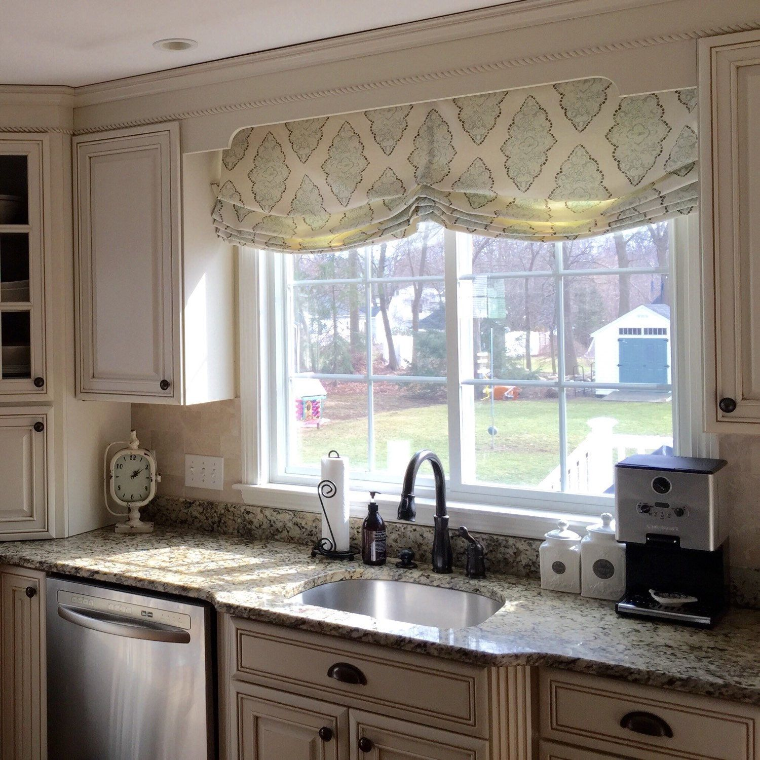 Free Shipping Roman Shade Relaxed Stationary Custom Etsy Roman Shades Kitchen Home Kitchen Window Treatments