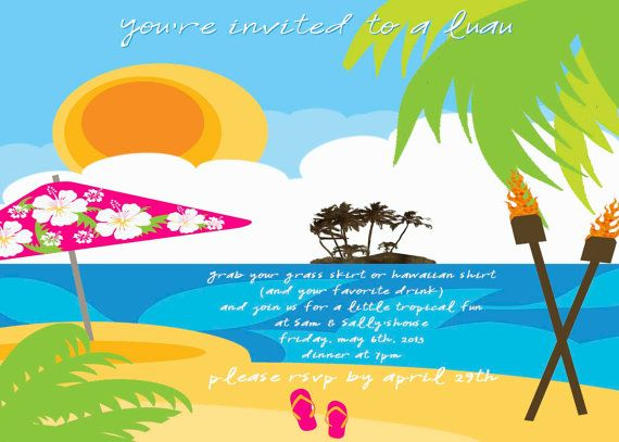 Luau Fun Summer Party Invitation Backyard Barbecue BBQ In The Sun Beach Bash Friends Food