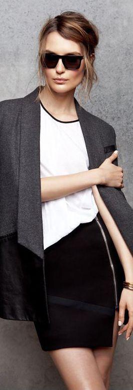 Marissa Webb Leather/Wool Tux Jacket