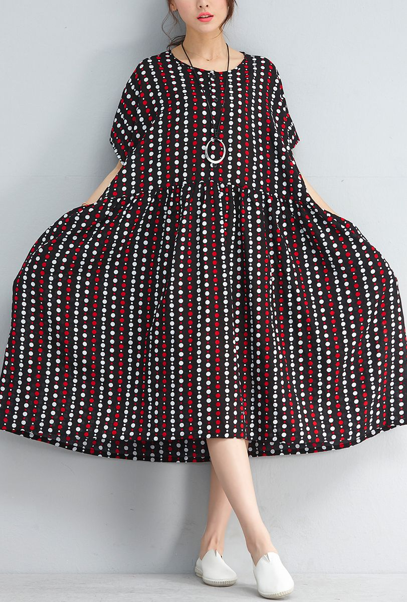2b9cf6e172 vintage black striped dotted linen shift dresses casual holiday dresses  Elegant baggy waist short sleeve midi dress