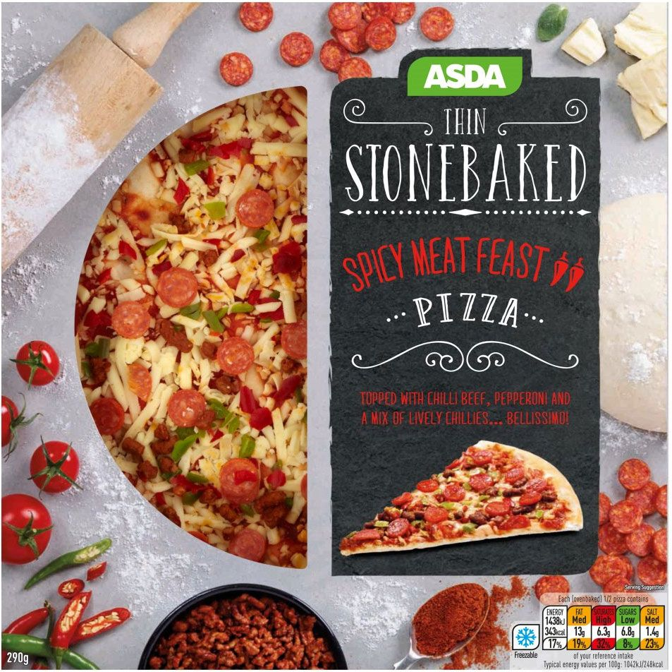 Asda Spicy Meat Feast Thin Stonebaked Pizza 290g Compare