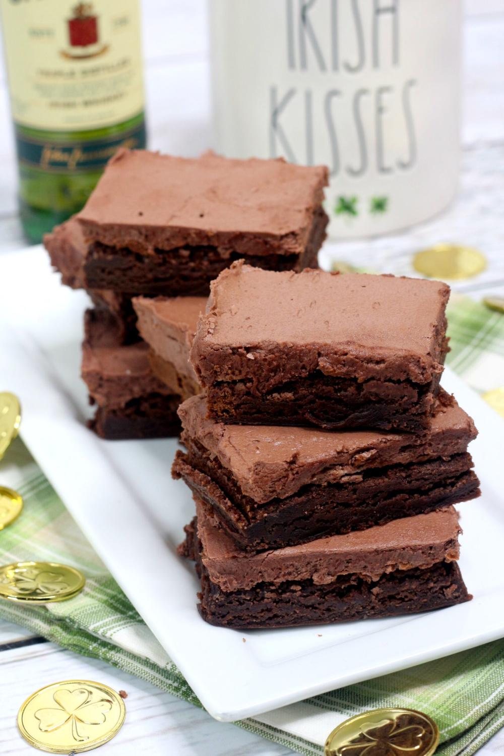 Irish Fudge Brownies with Chocolate Whiskey Buttercream