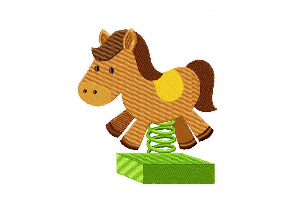Horse Spring Ride Machine Embroidery Design - dailyembroidery.com