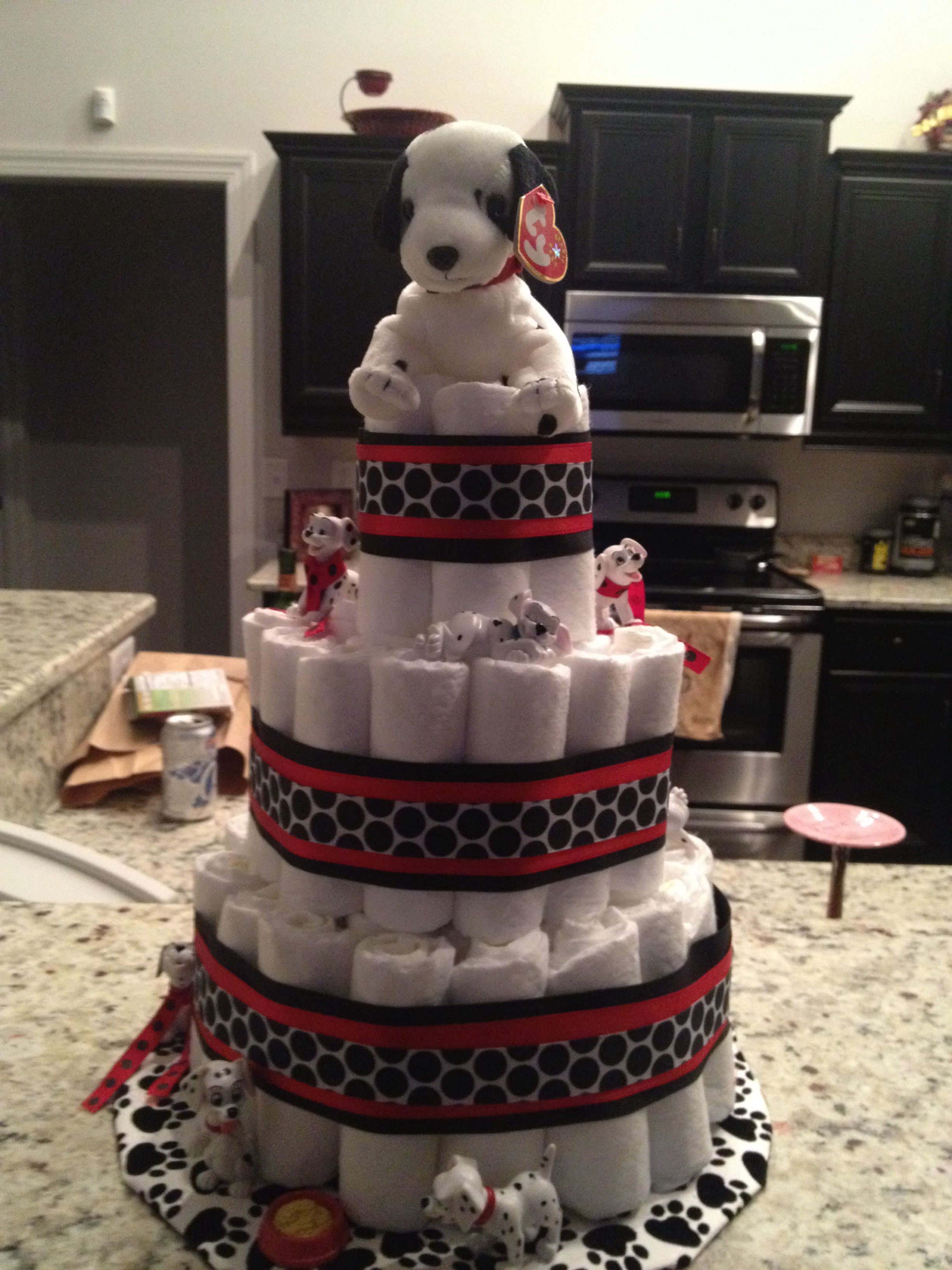 101 Dalmation Diaper Cake Baby Shower Kisses Boy Baby Shower Themes Baby Shower Food