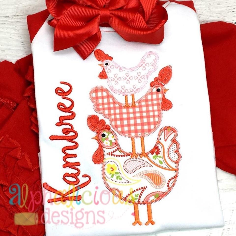 Stacked chickens zigzag applique designs pinterest embroidery