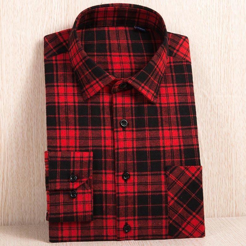 b35cc383a46b Plus size 6XL Men s Flannel Plaid Shirts Dress 2017 Male Casual Warm Soft  Comfort Long Sleeve