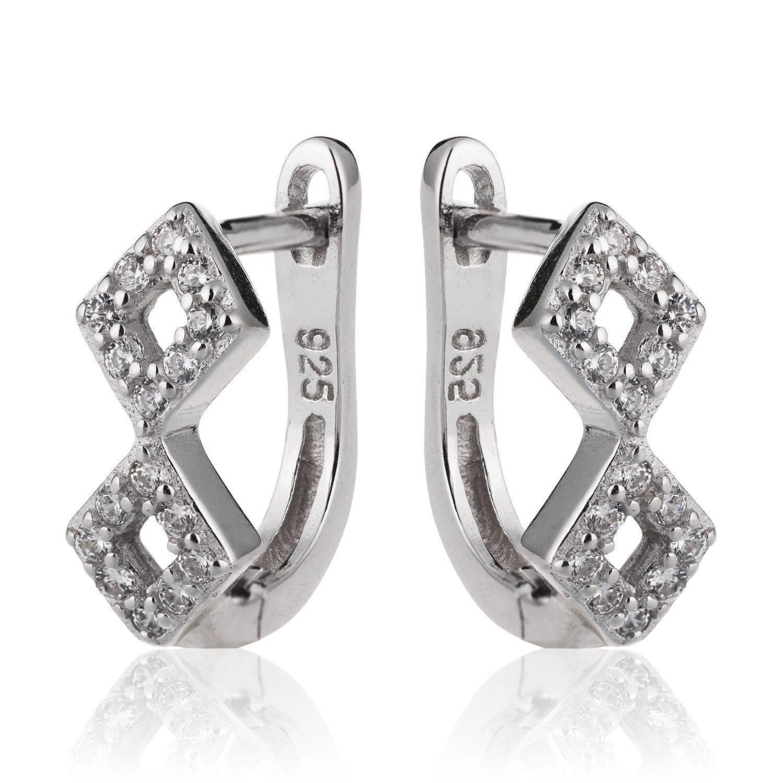 Double Diamond Shape Earrings In Sterling Silver With Cubic Etsy In 2020 Diamond Shape Earrings 925 Silver Earrings Diamond Shapes