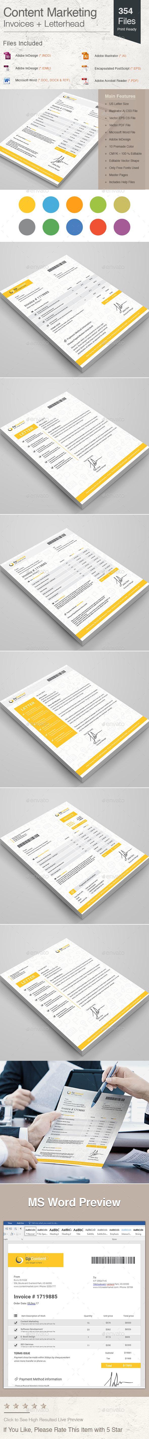 Content Marketing Invoices + Letterhead Template Vector EPS ...