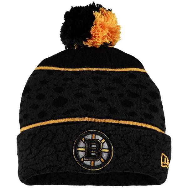 efde480bf9f12 Mens   Womens Boston Bruins New Era Heathered Black 2016 NHL Fashion Polar  Prints 2 Cuffed Knit Beanie Hat With Pom - Black   Gold