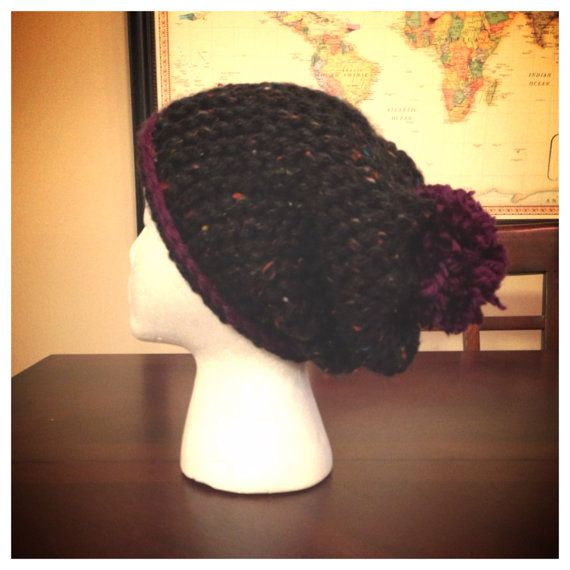 Black Speckled Beanie with Purple Trim and Poof on Etsy, $16.50