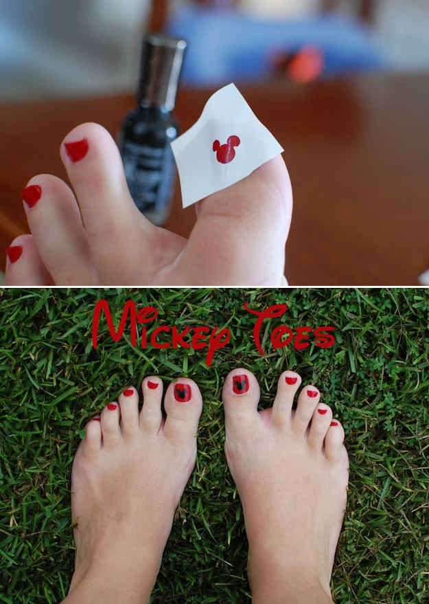 Or use a Mickey-shaped hole punch to create Mickey toes. | 36 DIYs That Will Get The Whole Family Psyched For A Disney Vacation