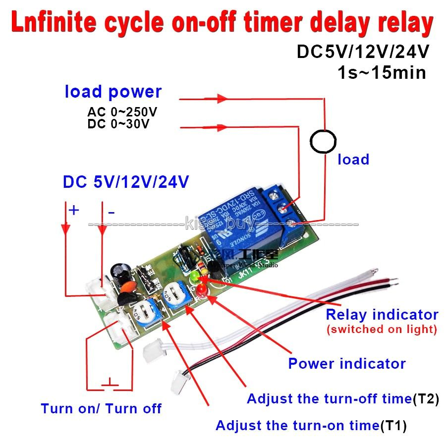 15 Minutes Adjust Dc 12v Infinite Cycle Delay Timing Timer Relay On Off Switch Loop Module Relay Timer Time Timer
