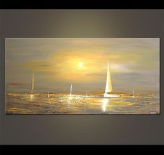 48 x 24 Gray Sailboat Painting Abstract Seascape by OsnatFineArt