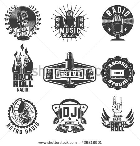 Radio Labels Retro Radio Record Studio Rock And Roll Radio Emblems Old Style Microphone Guitars Design E Music Logo Design Retro Logo Design Retro Radios