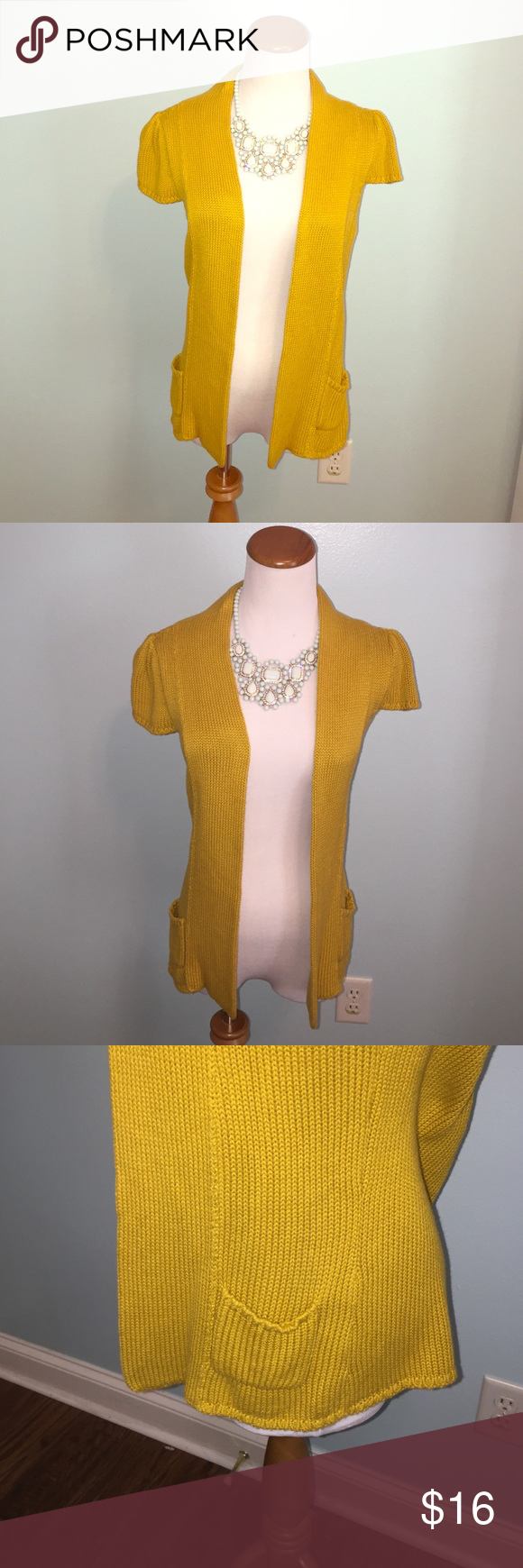 Gold open front cardigan by Worthington | Open front cardigan