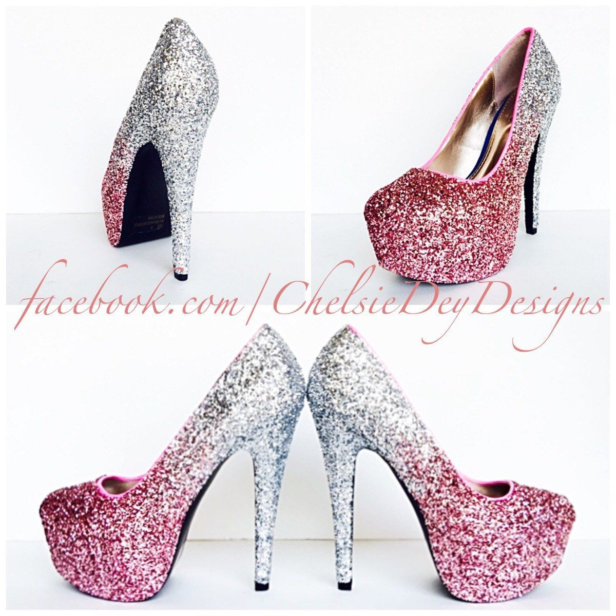 c8008dcdaaf4 Glitter High Heels - Blush Pink Pumps - Light Pink Silver Ombre Platform  Pumps - Sparkly