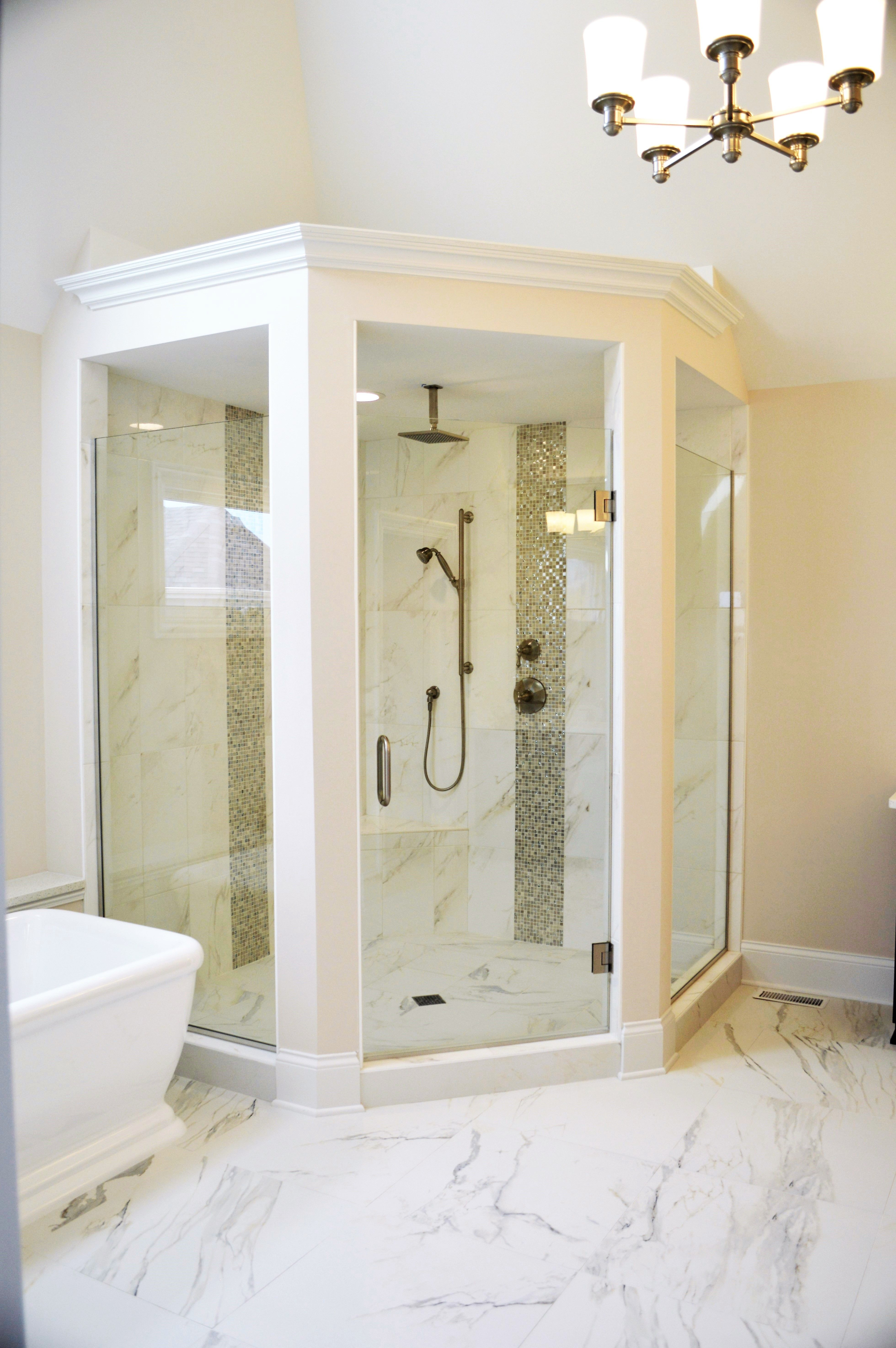 Master Bathroom Corner Shower With Freestanding Tub Naperville Il