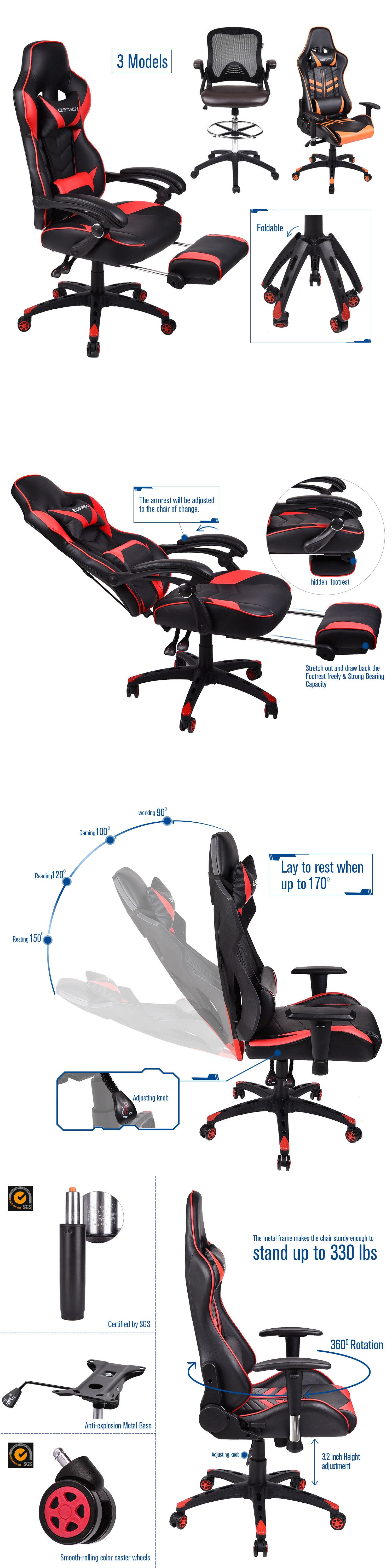 Chairs 54235 office racing gaming chair drafting stool