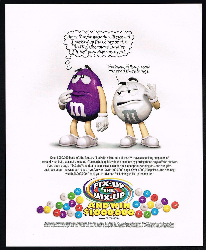 2000 M&M's Chocolate Candy Color Mix Up Fix Up Contest Bag Magazine