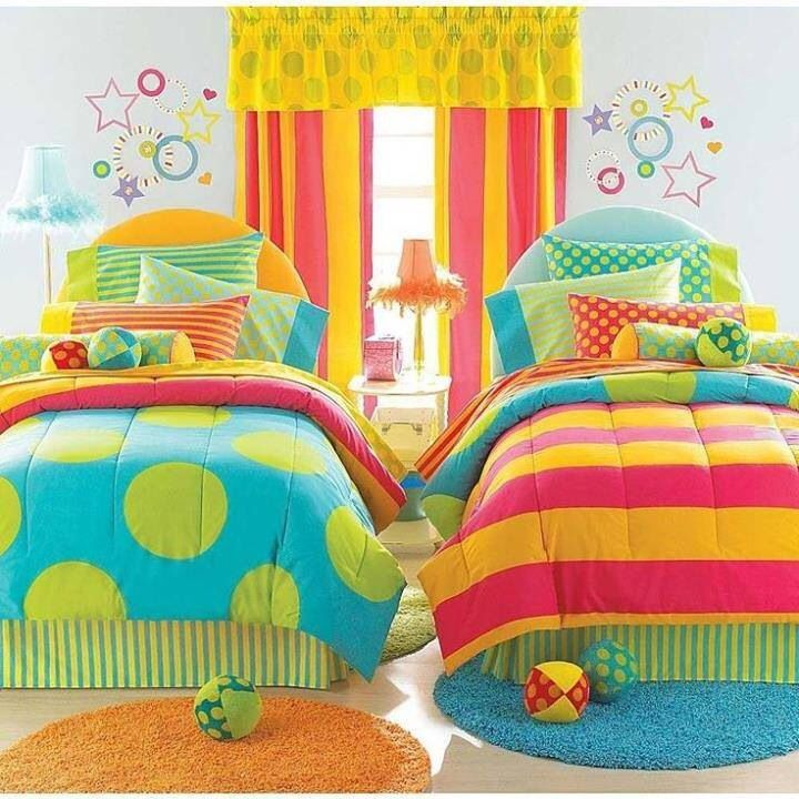 Bright colors polka dots and stripes bedroom | Girl beds ...