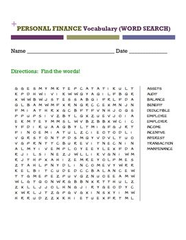 PERSONAL FINANCE Vocabulary (WORD SEARCH)