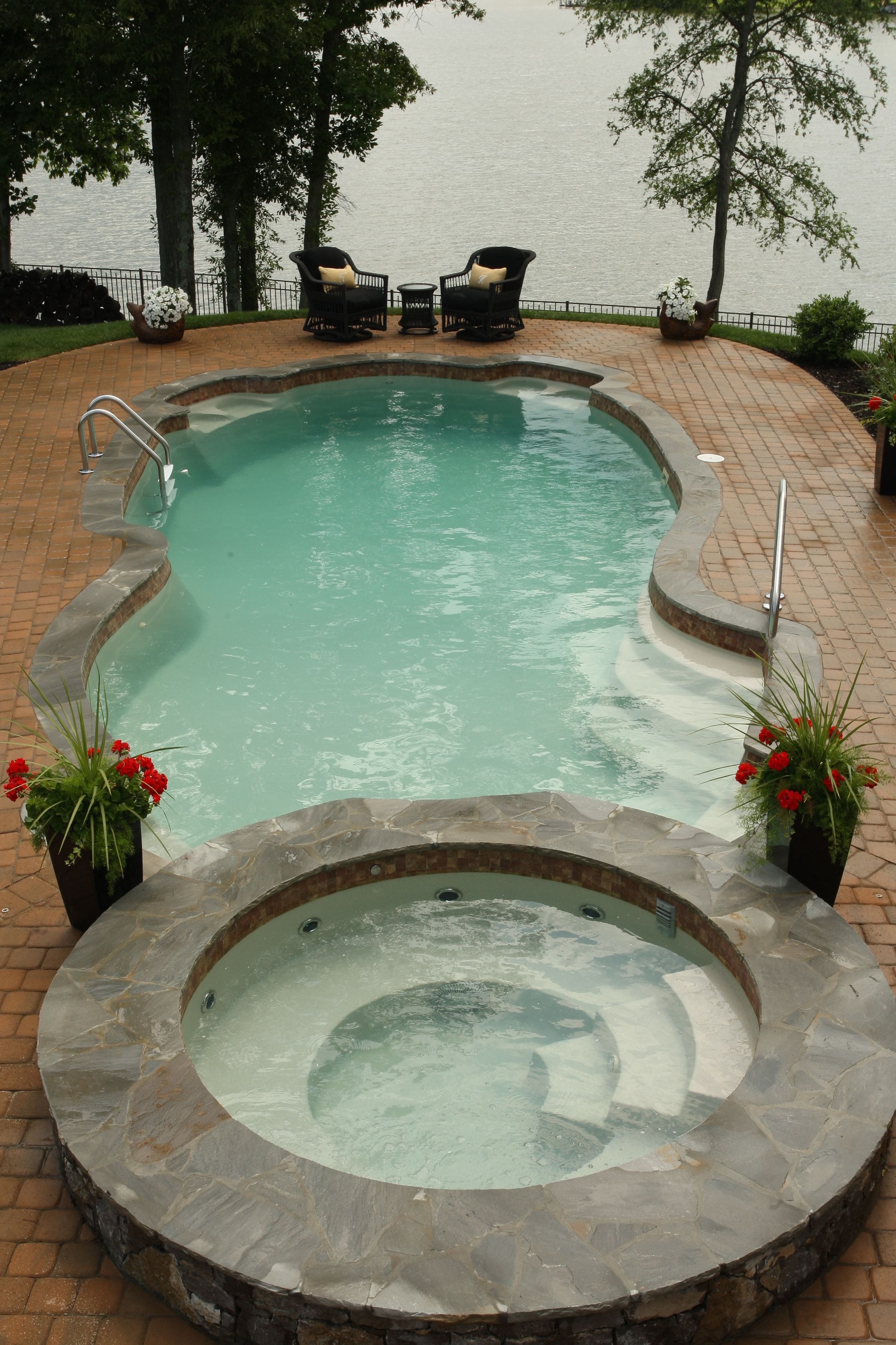 If Only I Could Go Back And Redo The Pool Fiberglass Pool Spa With A Paver Deck Indoors Out