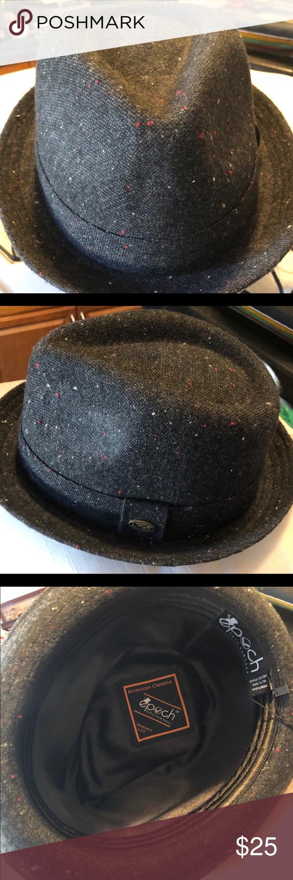 1a54ef7ec3b20 Fedora Hat with Fabric Band 🎩🦋NWT Tweed Wool NWT Tweed Wool Unisex Fedora  with Fabric Band 100% Wool L XL Dark Grey Epoch Accessories Hats