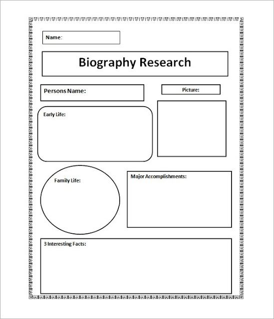 Biography Template Biography Research Graphic Organizer