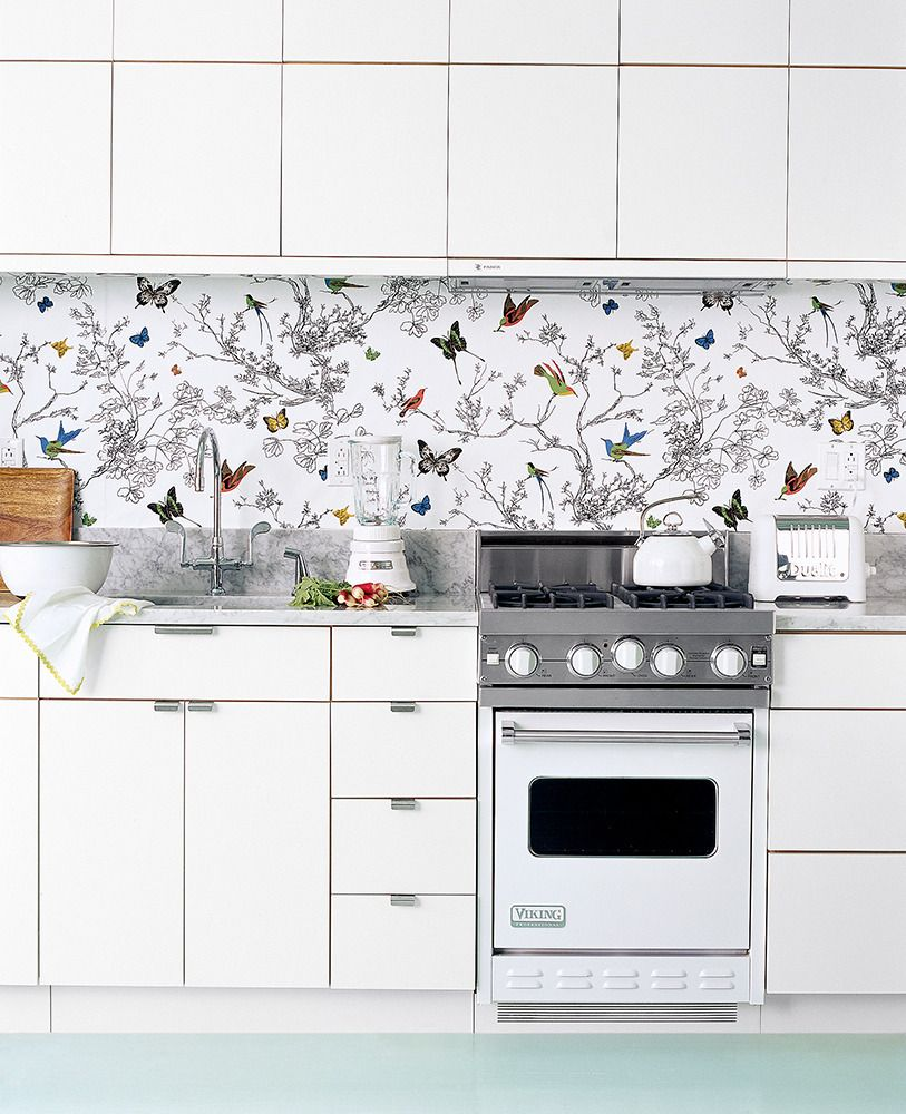 See More Images From Great Images From Sept 2006 On Domino Com White Kitchen Appliances Wallpaper Backsplash Kitchen Kitchen Wallpaper