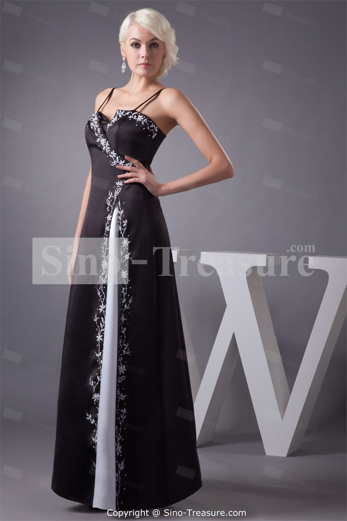 Fantastic black and white anklelength beading satin prom dress